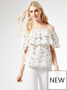 dorothy-perkins-printed-bardot-tiered-top-white