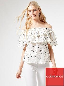 dorothy-perkins-printed-bardot-tiered-top-white