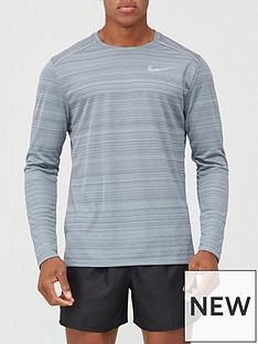 nike-dry-miler-top-long-sleeve-grey