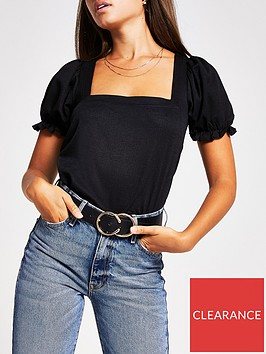 river-island-puff-sleeve-square-neck-jersey-top-black
