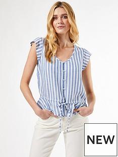 dorothy-perkins-blue-stripe-peplum-hem-shirt