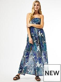 dorothy-perkins-navy-tropical-bandeau-maxi-dress
