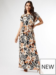 dorothy-perkins-petite-tropical-jersey-maxi-dress-black