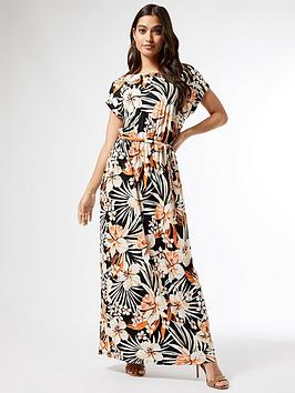 dorothy-perkins-petite-tropical-jersey-maxi-dress-black