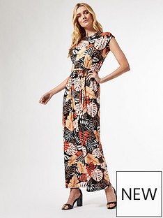 dorothy-perkins-leaf-floral-roll-sleeve-maxi-dress-black