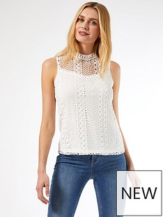 dorothy-perkins-geo-lace-shell-top-white