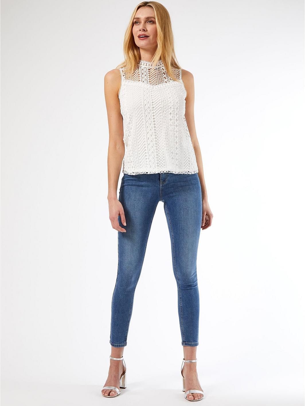 Dorothy Perkins White Geo Lace Shell Top dECXtM