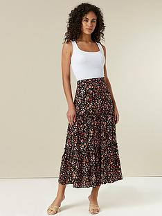 wallis-floral-maxi-skirt-black