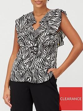 wallis-zebra-short-sleeve-ruffle-top-black