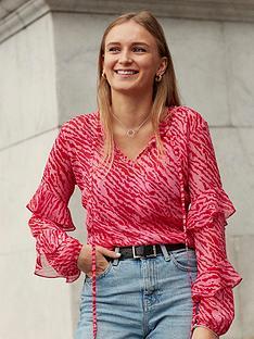 wallis-zebra-ruffle-sleeve-top-pink