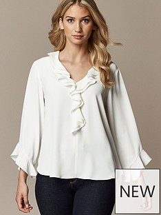 wallis-plain-ruffle-top-cream