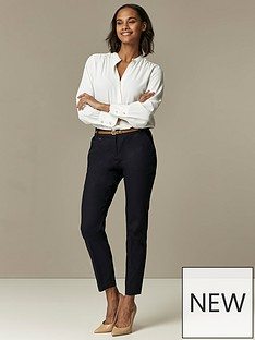 wallis-cotton-belted-cigarette-trousers-navy