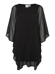 junarose-saduno-three-quarter-sleeve-mesh-smock-dress-black