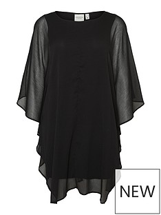 junarose-saduno-three-quarter-sleeve-mesh-smock-dress-black