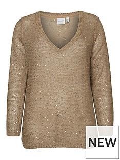 junarose-pilou-long-sleeve-knit-sparkle-jumper-gold