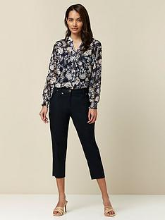 wallis-petite-cotton-crop-trousers-navy