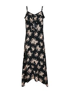 wallis-petite-frill-cami-dress-black