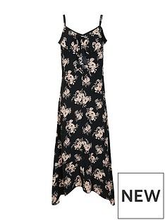 wallis-petite-frill-cami-dress-black