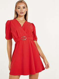 quiz-puff-sleeve-belted-skater-dress-red