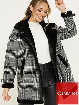 quiz-wool-checked-fauxnbspfur-collar-coat-grey