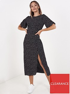 quiz-crepe-polka-dotnbspsplit-front-dress-black