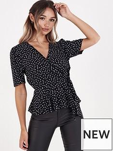 quiz-crepe-polka-dot-wrap-front-tie-belt-top-black