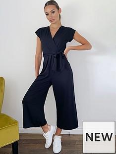 quiz-ribbed-wrap-front-tie-belt-culotte-jumpsuit-black