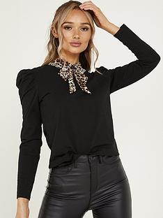quiz-leopard-print-collar-puff-sleeve-top-black