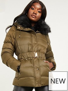 quiz-padded-fur-belted-parka-jacket-khaki