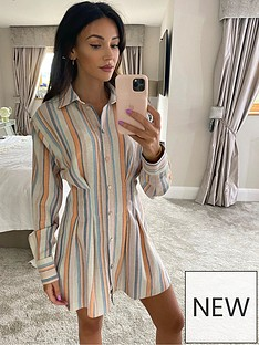 michelle-keegan-linen-pleat-front-shirt-dress-stripe
