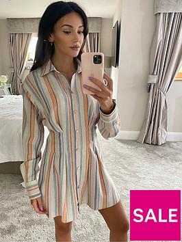 michelle-keegan-linen-pleat-front-shirt-dress-stripe