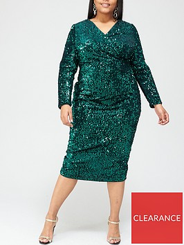 v-by-very-curve-sequin-wrap-dress-green