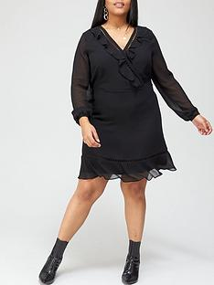 v-by-very-curve-lace-trim-wrap-dress-black