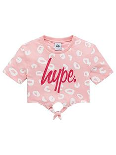 hype-girlsnbspleopard-knotted-cropped-short-sleeve-t-shirt-pink