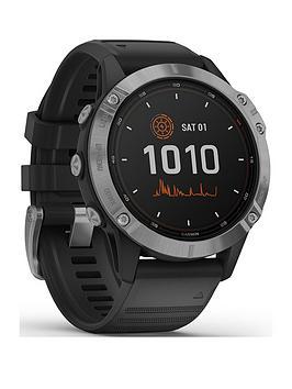 Garmin Fenix 6 Solar, Gps Watch, Ww - Silver With Black Band