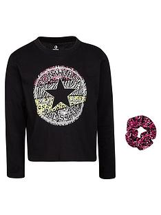 converse-younger-girl-chuck-taylor-patchnbspprint-filled-long-sleeve-tee-and-scrunchie-set-black