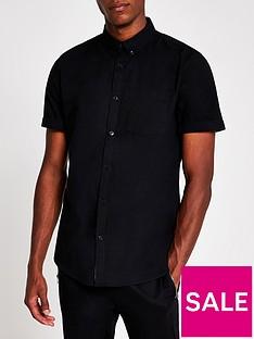 river-island-short-sleeve-regular-fit-oxford-shirt-black