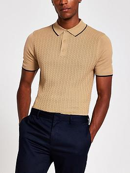 river-island-short-sleeve-basket-weave-polo-shirt-beige
