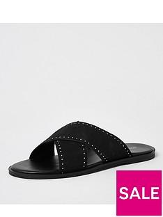 river-island-wilder-cross-strap-leather-sandal-blacknbsp