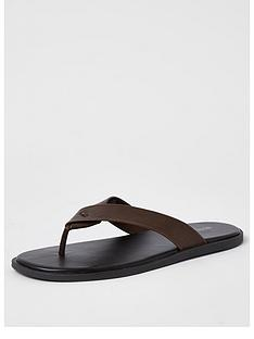 river-island-waikiki-leather-flip-flop-brownnbsp