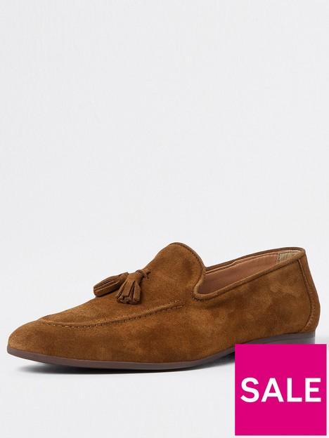 river-island-tassel-suede-loafer-brown