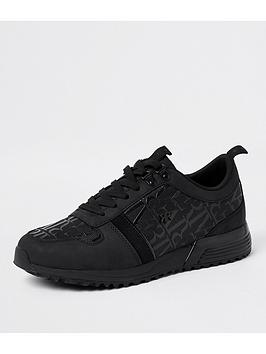 river-island-sydney-monogram-panel-runner-trainers-black