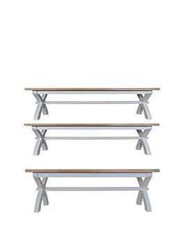 K-Interiors Harrow 250-300 Cm Extending Dining Table + 2 Benches - Grey/Oak
