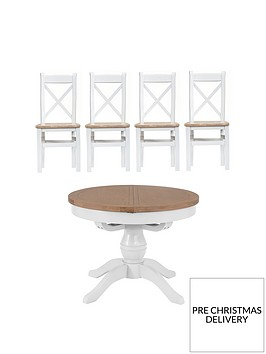 k-interiors-harrow-round-110-145-cmnbspextending-dining-table-4-chairs-whiteoak