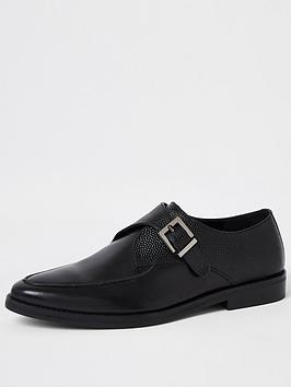 river-island-rustin-single-texture-monk-strap-shoe-black