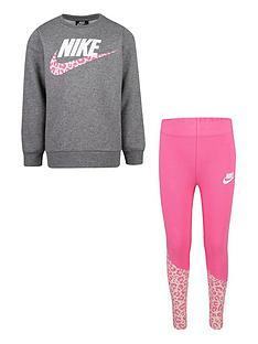 nike-younger-girls-check-me-out-tunic-legging-set-pinkgrey