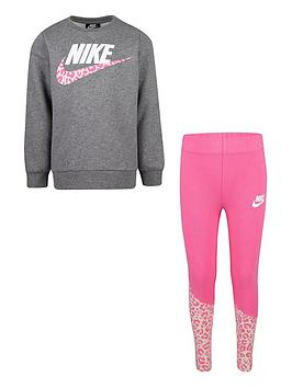 nike-younger-girls-check-me-out-tunic-legging-set-pinkgrey