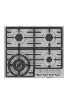 hisense-gm663xuk-60cm-width-gas-hob-with-wok-burner-stainless-steel