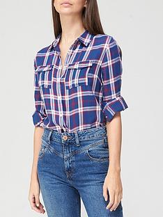 v-by-very-valuenbspchecked-shirt-navy