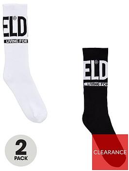 diesel-boys-2-pack-logo-sport-socks-blackwhite